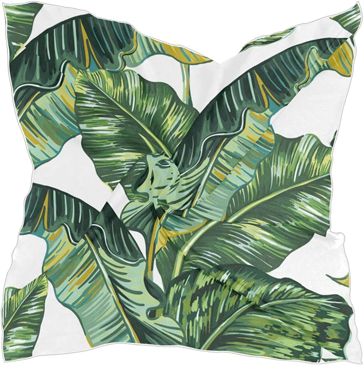 ALAZA Palm Tree Leaves Jungle Leaf Women's Polyester Square Scarf Chiffon Lightweight Neck Head Scarves Kerchief for Women Girls