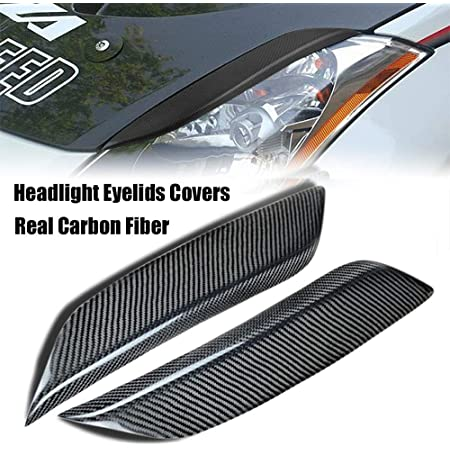 Nrpfell 2 Pcs Car Headlight Eyelids Eyebrows Cover Accessories Lamp Hood Sticker for 350Z 2 Door 03-08 Silver