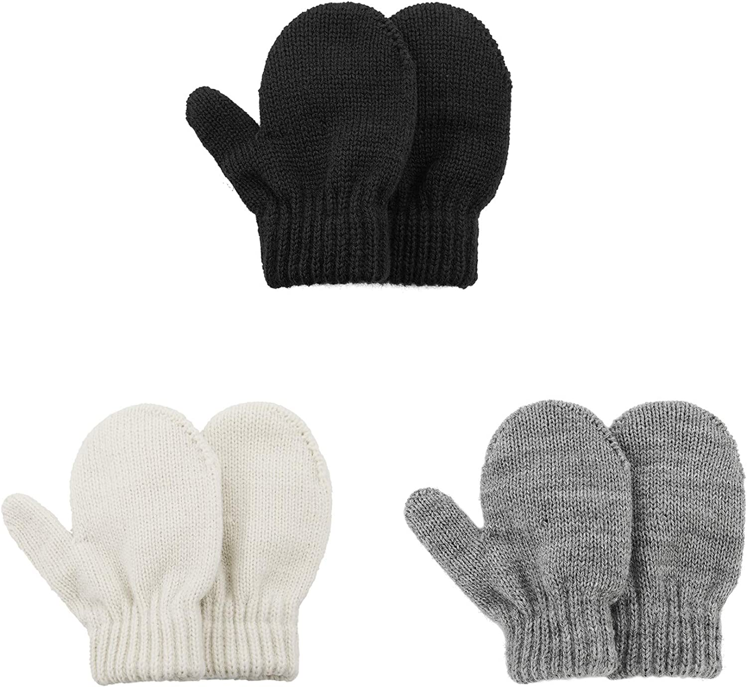 Kids Winter Toddler Mittens Multicolor Soft Knitted Gloves Thick Cold Protection Mitten Color Set 1