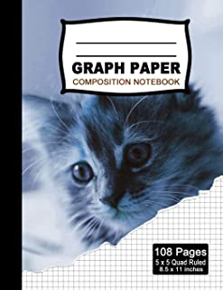 Graph Paper Composition Notebook: Beautiful 8.5 x 11 inch Quad Ruled 5 x 5 square grid journal five squares per inch graphing paper, (Notebooks for ... Cat  Notebook  (Office & School Essential)
