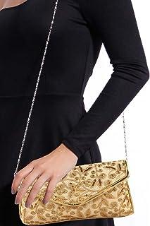 Kuber Industries Polyester Handcrafted Embroidered Women Clutch Women Handbag, Gold (CTKTC4330)