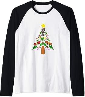 Merry Christmas Dachshund Wiener Dog Tree Holiday Graphic Raglan Baseball Tee
