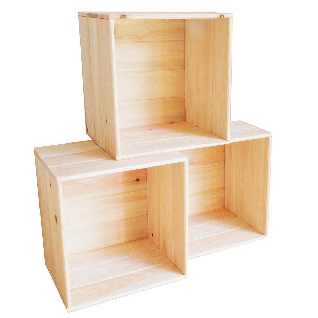 トロピカル言い訳栄光のヒノキ 収納 フリーボックス 【3個セット】 木製 国産 手作り 家具