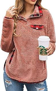 Tkria Womens Zipper Sherpa Pullover Fuzzy Fleece Sweatshirt Outwear Coat with Pockets Warm Winter