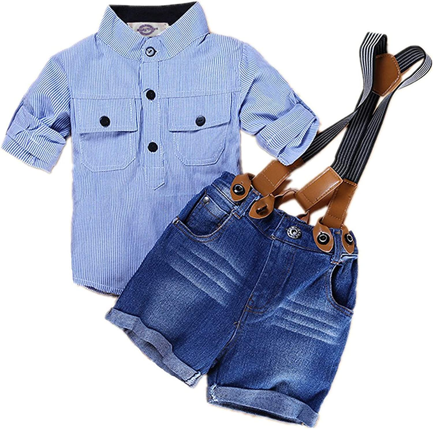 Gubabycci Baby Boys Overalls Outfit Suspender Shorts Long Sleeve Shirt Set Denim Cotton Blue Stripe Two-Piece Suits