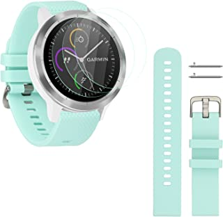 Rukoy 20mm Strap Replacement and 3-Pack Tempered Glass Screen Protectors for Garmin Vivoactive 3 Smartwatch (Teal Green, Small)