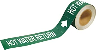 """Brady 109252 Economy Pipe Markers-To-Go, B-946, 1"""" Height X 8"""" Width, White On Green Pressure Sensitive Vinyl, Legend """"Hot..."""