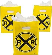 Fun Express - Railroad Plastic Treat Bags for Birthday - Party Supplies - Bags - Plastic Bags - Birthday - 12 Pieces