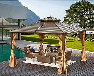 MELLCOM 12' x 12' Hardtop Gazebo Galvanized Steel Outdoor Gazebo Canopy Double Vented Roof Pergolas Aluminum Frame with Ne...