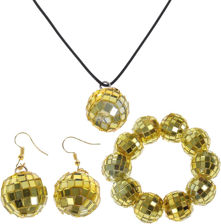 Genuine Recommendation Retro Disco Accessories Set Ball Neck 1970s Earrings