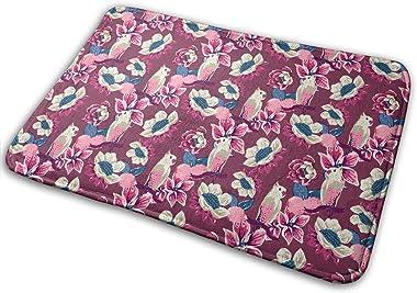 Parrots and Pink Oranges Carpet Non-Slip Welcome Front Doormat Entryway Carpet Washable Outdoor Indoor Mat Room Rug 15.7 X 23