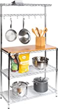 Seville Classics Baker's Rack for Kitchens, Solid Wood Top, 14