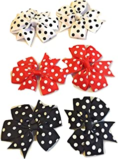 """XLdreams Imported 3 pairs of Boutique Baby Girls Colorful POLKA-DOTS Grosgrain Ribbon 3"""" Hair Bows with Alligator Clips -..."""