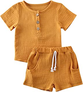 Baby Girls Boys Cotton Linen Shorts Set Toddler Sleeveless Button Down Shirt Top Tie Front Pants Outfit Clothes