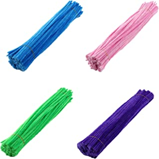 Richohome 400 Craft Pipe Cleaners Pipe Cleaners Chenille Stems 12 Inch for DIY Art Craft, Blue, Pink, Green, Purple