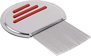 Stainless Steel Head Lice Comb For Pets And Humans For Lice,Flea, and Tick Removal (Red)