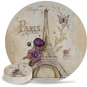 Thirstystone Stoneware Coaster Set Golden Age of Paris VWA4-HA60 Gift Set
