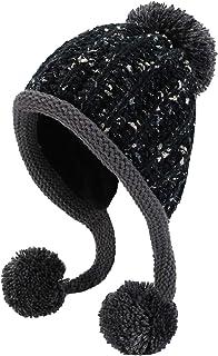 HUAMULAN Women Winter Peruvian Beanie Hat Ski Cap Fleece Lined Ear Flaps Dual Layered Pompoms