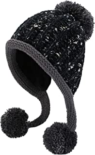 HUAMULAN Women Winter Peruvian Beanie Hat Ski Cap Fleece Lined Ear Flaps Dual Layered Pompoms