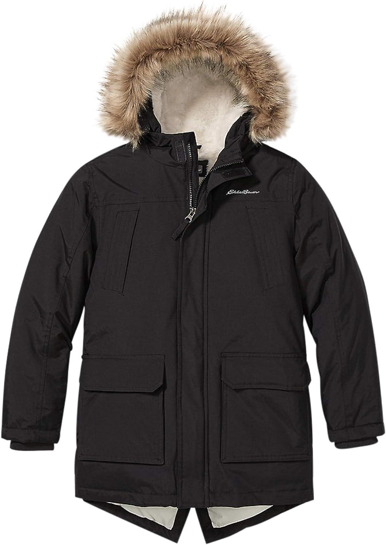 Eddie Bauer Boys Parka Coat Fur Rare Manufacturer OFFicial shop Winter Hood Down -