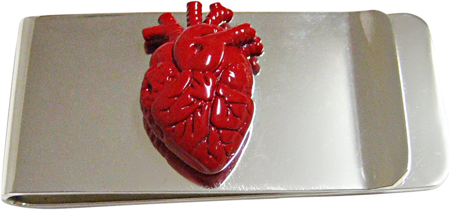Red Anatomical Heart Money Clip