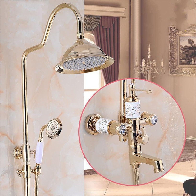 Gyps Faucet Basin Mixer Tap Waterfall Faucet Antique Bathroom Mixer Bar Mixer Shower Set Tap antique bathroom faucet The copper shower faucet set enamel pink gold wall mounted shower column shower han