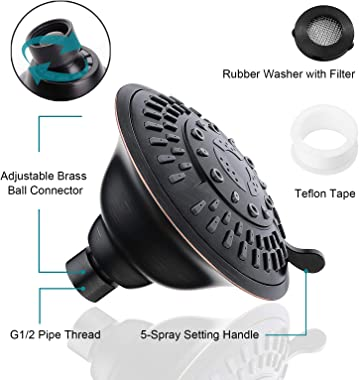 Shower Head High Pressure Rain Showerhead 5 Spray Setting Fixed Shower head Angle Adjustable Bathroom Showerhead, Oil Rubbed