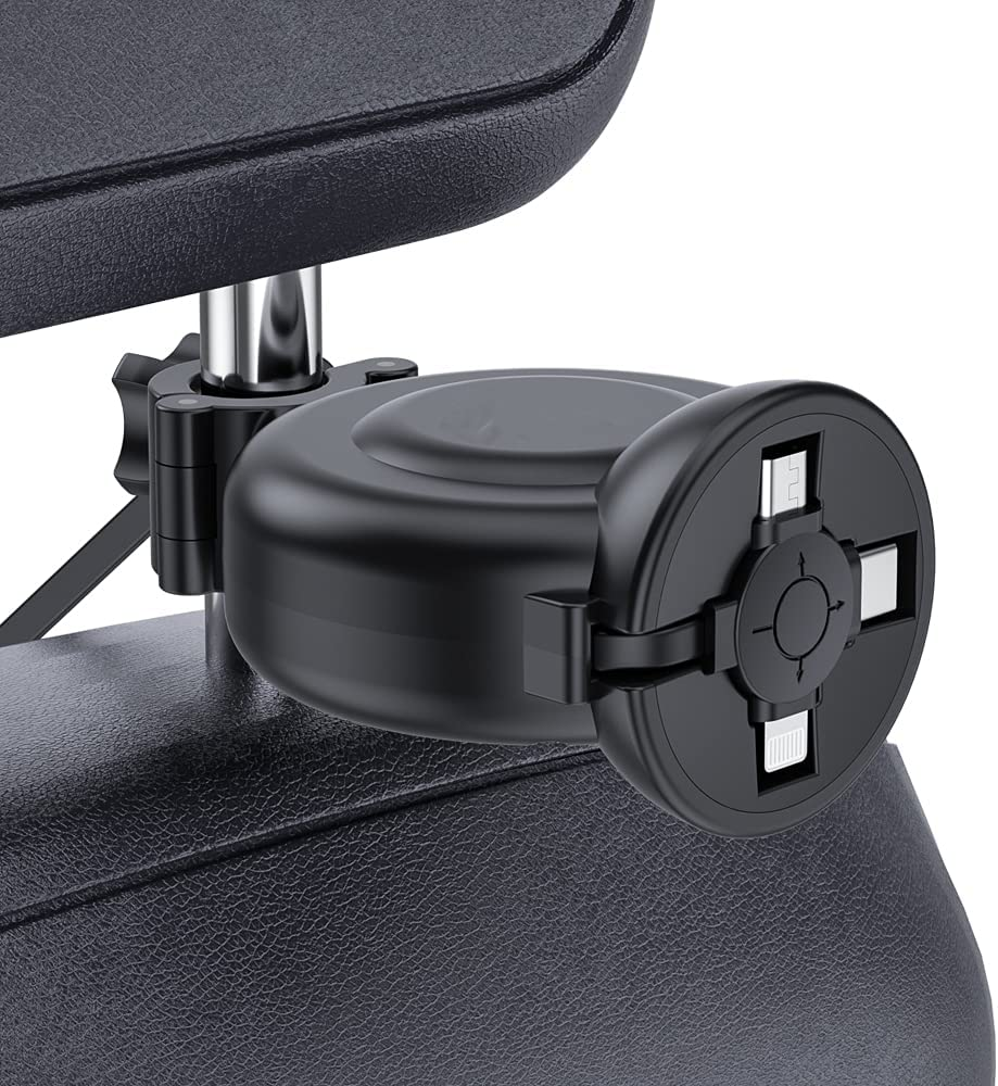 Car Retractable Charging Cable Box 3 in 1 USB Type C Fast Charger Cord Station Car Headrest Backseat with Share Ride Customer Taxi,Multi Cord Connector for All Phones/iPhone/Samsung/Android/