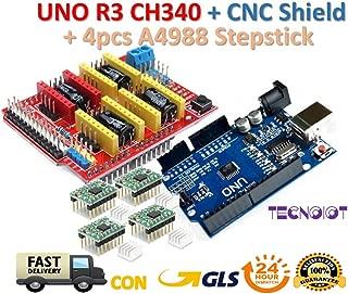 TECNOIOT 【3D Printer Kit】 CNC Shield V3.0 + UNO R3 Board + 4pcs Stepper Motor Controller A4988 with Heat Sink for 3D Printer