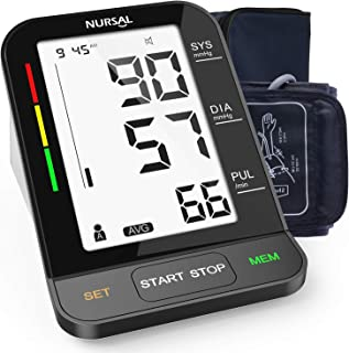 NURSAL Blood Pressure Monitor - Automatic Upper Arm Machine Accurate, Adjustable Cuff, Large Backlit Display - Irregular Heartbeat & Hypertension Detector, 240 Sets Memory, Carrying Bag