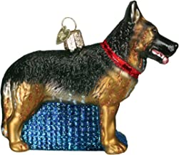 Old World Christmas Ornaments: German Shepherd Glass Blown Ornaments for Christmas Tree