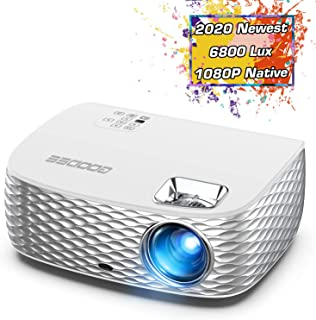 Projector, GooDee BL98 Native 1080P HD Video Projector 6800L, Touch Keys Home Theater Projector with 50,000 Hrs Lamp Life, Compatible with Fire TV Stick, PS4, HDMI, VGA, AV and USB