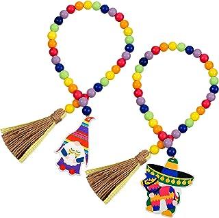 Jetec 2 Pieces Cinco De Mayo Fiesta Wood Bead Garlands with Tassels Pinatas Mexican Fiesta Gnomes Sign Tiered Tray Decor P...