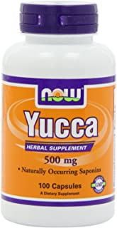 NOW Yucca 500mg, 100 Capsules (Pack of 4)