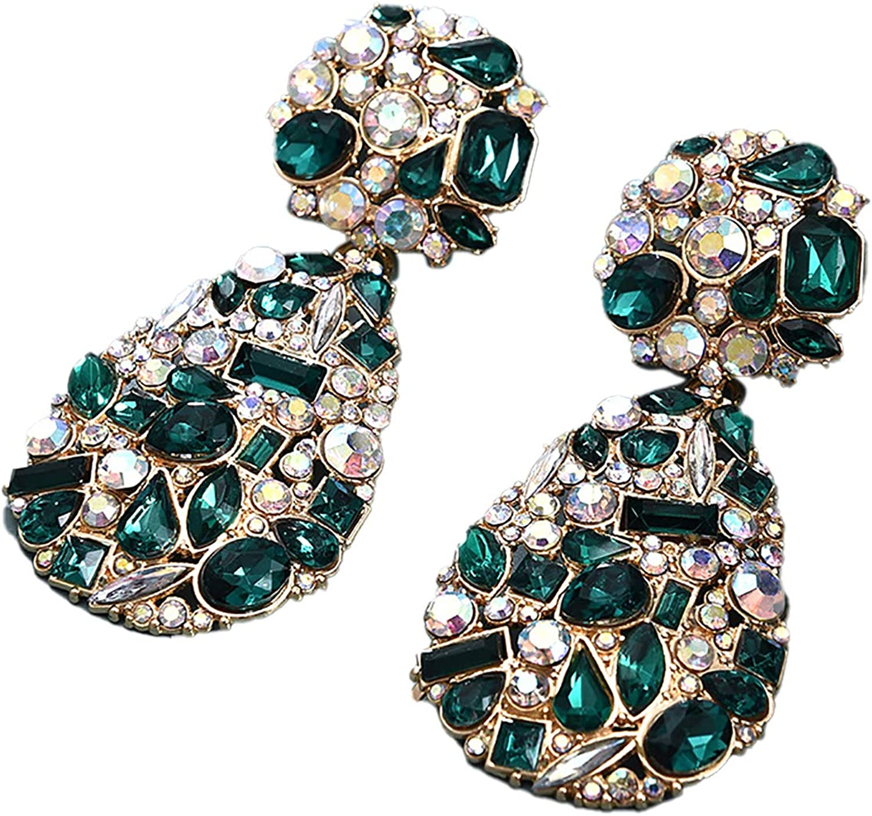 Rhinestone Crystal Teardrop Dangle Earrings Water Drop-Shape Chandelier Crystal Earrings Geometric Statement Wedding Bridal Earrings Shiny Bling Studs Earrings Jewelry for Women