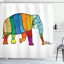 Ambesonne Safari Decor Collection, Funny Cute Colorful Striped Big Elephant African Life Symbol Large Mammal Family Illustration, Polyester Fabric Bathroom Shower Curtain Set with Hooks, Multi
