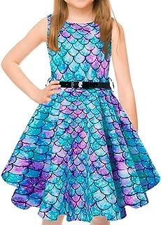 فستان للفتيات من uideazone فستان كلاسيكي بدون أكمام وتنورة متأرجحة كلاسيكية من أجل فساتين حفلات الكوكتيل مع حزام من 6-13 سنة
