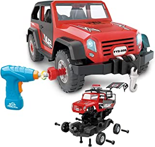 FYD Take Apart Toy Car 35 Pieces Set, DIY Assembly Car Toy Construction Kit Realistic Lights & Sounds with Electric Toy Drill for Boys and Girls Kids Ages 3+ Gift (Red)