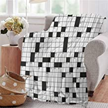 Luoiaax Word Search Puzzle Rugged or Durable Camping Blanket Classical Crossword Puzzle with Black and White Boxes and Numbers Warm and Washable W70 x L90 Inch Black and White