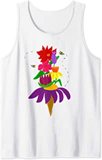 Whimsical Floral Flower Garden Ice Cream with Bees Tank Top