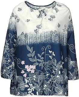 Lange /Ärmel Oberteile Top T Shirt Lockere Pullover Damen Frauen Elegant Elegante Polka Dots Leinen Schicke Asymetrisches Gro/ße Gr/ö/ßen Sweatshirts