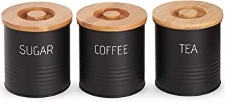 VonShef 3pc Canister Set with Bamboo Lids, Kitchen Containers for Coffee, Sugar, Tea with Airtight Seal, Modern Design Canisters, Set of 3, 1 Quart Capacity, 38oz