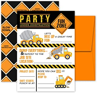 Deluxe Construction Dump Truck Birthday Party Invitations for Boys, 20 Double Sided Large 5 x 7 Flat Fill In Invites with Orange Envelopes, Kids Party Supplies