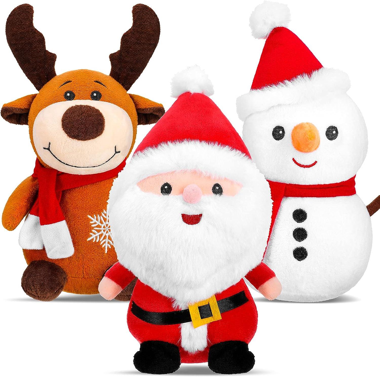 3 Pieces Christmas Plush Toys Santa Claus Plush Doll Reindeer Stuffed Animal Snowman Plush Toys Christmas Stuffed Animal Set for Boys and Girls Xmas Decorations Home Office Car Ornament, 9 Inch