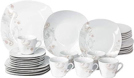 Preisvergleich für Van Well | 30-TLG. Kombi-Geschirr Festivo für 6 Personen | Tafel-Service + Kaffee-Set | Festliches Dekor | edles Porzellan | abstrakte Blumen-Ranken