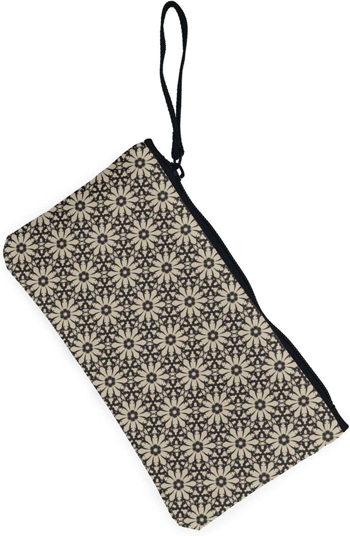AORRUAM Vintage Flowers Pattern Canvas Coin Purse,Canvas Zipper Pencil Cases,Canvas Change Purse Pouch Mini Wallet Coin Bag