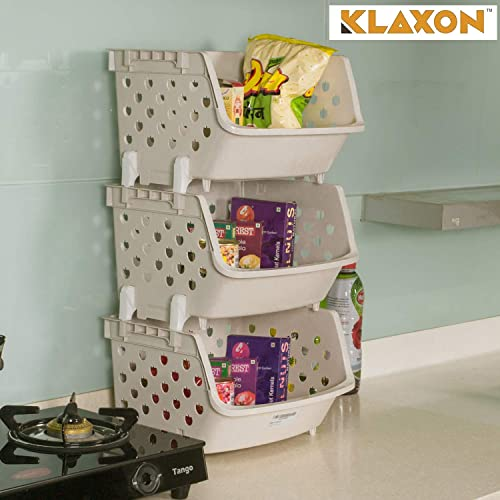 Klaxon Plastic Storage Racks - 3 Tier Fordable Multipurpose Kitchen Rack/Bathroom Storage Stand - Cream