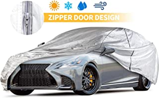 Car Covers Outdoor Silvery 5 Layers Auto Covers with Driver Door Zipper UV Protection Waterproof Windproof Dust-Proof Scratch Resistant Outdoor/Indoor Universal Car Covers for Sedan 200