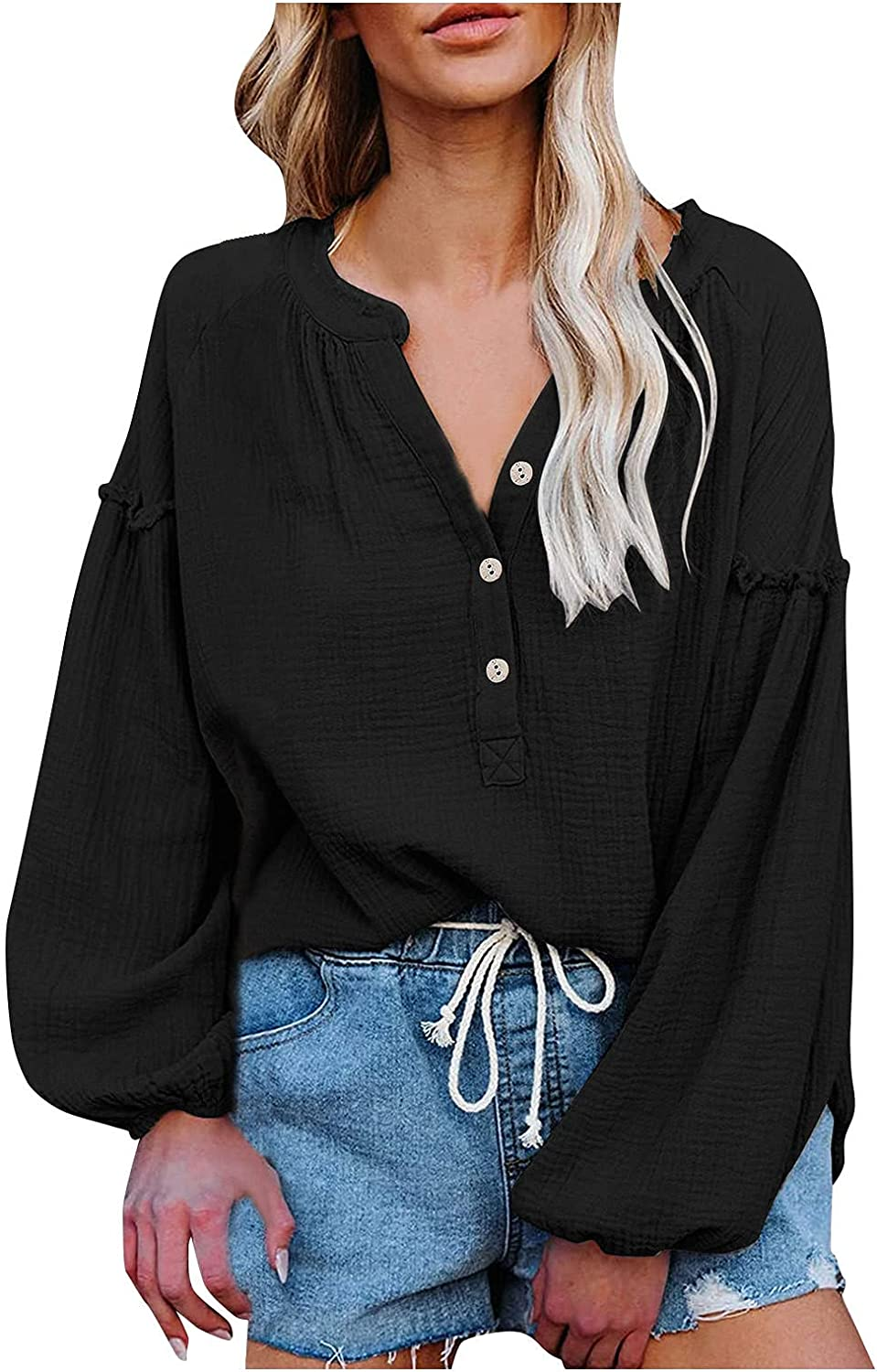Blouses for Women Tops Fashion V-Neck Casual Loose Autumn Button-Down Shirt Lantern Sleeve Solid Color Splicing Pullover
