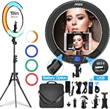 Ring Light with Remote Controller and Stand ipad Holder,Makeup LED Ring Lights 60W Bi-Color 3000K-5800K CRI=97 & TLCI�=99 with 4 Color Soft Filters for YouTube, Facebook Live,Twitch and Blogging